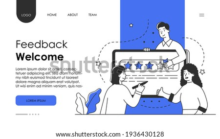 Customer review rating concept. People give review rating feedback. Customer choice. Know your client concept. website web page landing page template. Flat abstract cartoon vector illustration design.
