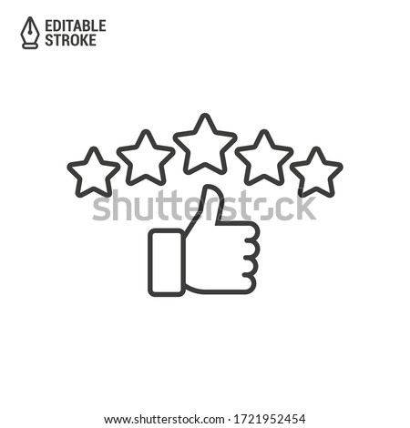 Customer review rating with 5 stars and thumb-up. Outline icon with editable stroke. Vector