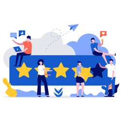 Customer reviews concept. People characters giving five star feedback. Clients choosing satisfaction rating and leaving positive review. Modern vector illustration in flat style for landing page.