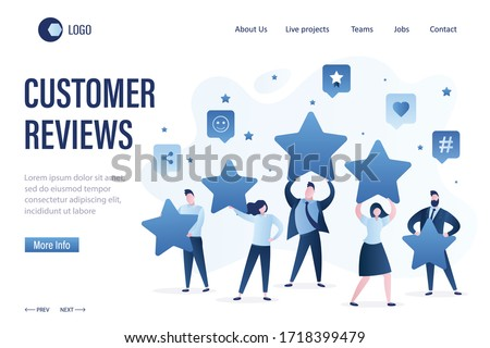 Customer reviews landing page template. Group of businesspeople holding stars. Five stars rating, high quality concept. Online survey, feedback. Trendy style vector illustration.