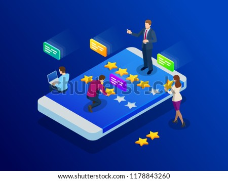 Customer reviews. Review rating on mobile phone, feedback vector illustration. Reading customer review in smart phone before buying products.