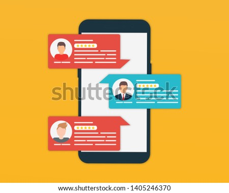 Customer Reviews.Review rating on mobile phone. Review rating bubble speeches. Review rating bubble speeches on mobile phone. Different specialists with rating from customers on smartphone screen