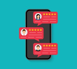 Customer reviews. User reviews bubble on smartphone. Feedback, experience concept. Online review notifications with star ratings. Flat style. Vector illustration.