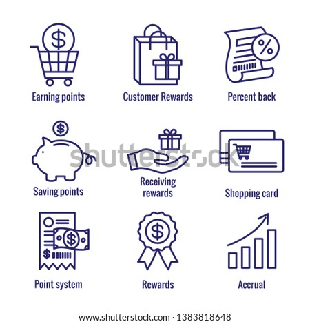 Customer Rewards Icon Set w Shopping Bag and Discount Images Foto stock ©