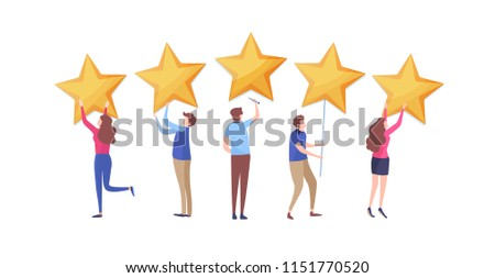 Customer's giving five star rating. User feedback review scroll. Cartoon illustration vector graphic on white background.