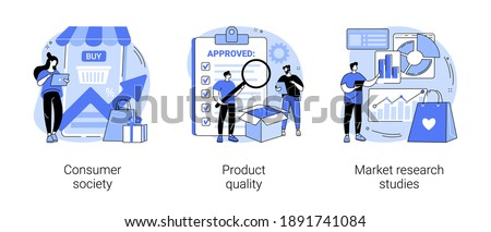 Customer satisfaction abstract concept vector illustration set. Consumer society, product quality, market research studies, retail app, customer habit and need research, focus group abstract metaphor.