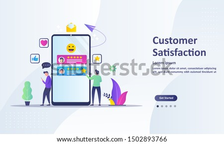Customer Satisfaction concept design, people give vote review results. Suitable for web landing page, ui, mobile app, banner template. Vector Illustration