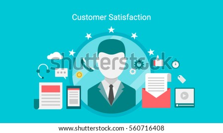 Customer satisfaction, customer rating and review flat vector banner concept with icons