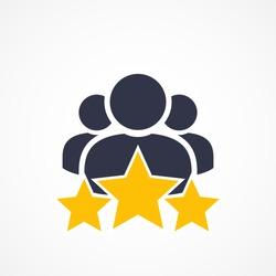 Customer Satisfaction Icon On White. Achievement, grade, ranking, star, user team icon. Client rating, executive, star user team icon