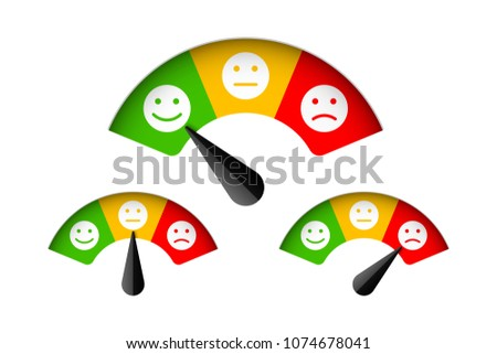 Customer satisfaction meter with different emotions, feedback concept, vector illustration