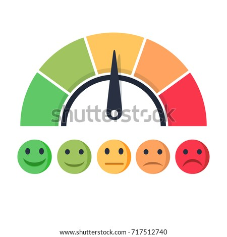 Customer satisfaction meter with different emotions Vector illustration. Scale color with arrow from red to green and the scale of emotions. The measuring device icon- sign tachometer