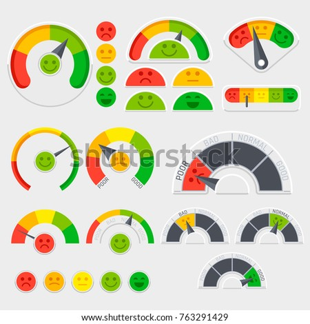 Customer satisfaction vector indicator with emotions icons. Client emotive rating. Good and poor indicator, credit level score illustration