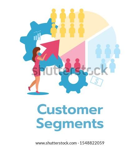 Customer segment flat vector illustration. Business model. Marketing target audience. Consumer segmentation. Market analysis. Company strategy. Isolated cartoon character on white background