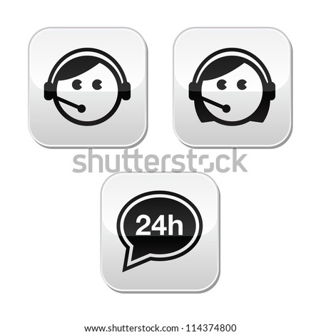 Customer service agents buttons set