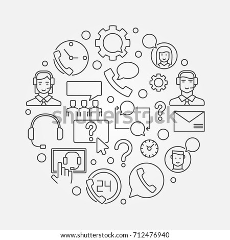 Customer service and support round vector concept illustration in thin line style