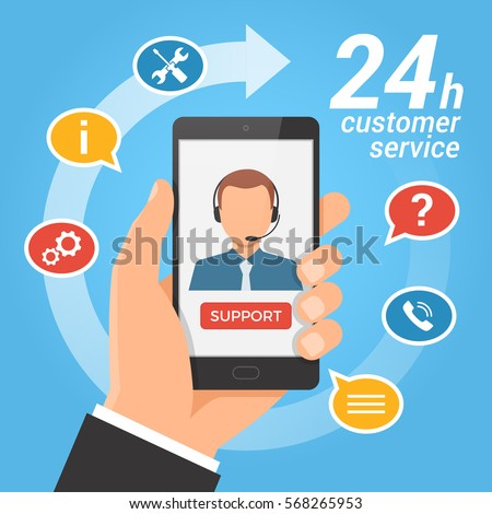 Customer service and technical support call center concept. Hand holding smartphone with male operator on the screen. Vector illustration.