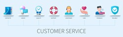 Customer service banner with icons. Contacts, Advice, Quality, Support, Assistance, Care, Feedback, Reliable icons. Web vector infographic in 3D style