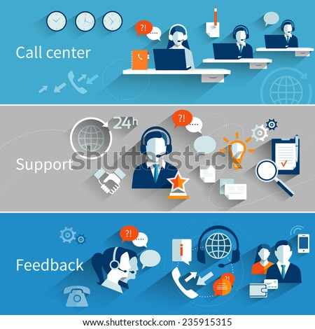 Customer service banners set with call center support feedback isolated vector illustration