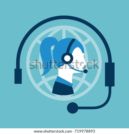 customer service call center operator wearing headphone