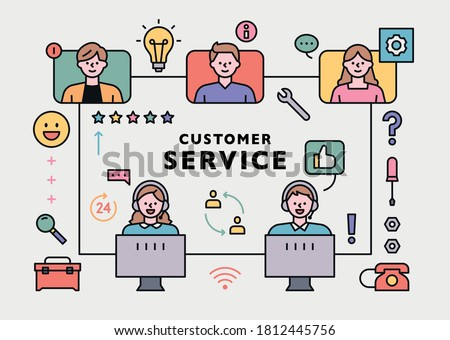 Customer service center staff and customer network. flat design style minimal vector illustration.