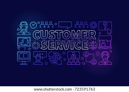 Customer service colorful illustration - vector modern customer support concept outline horizontal banner on dark background