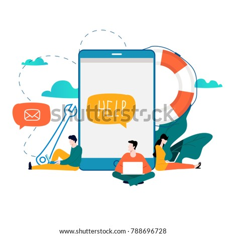 Customer service, customer assistance flat vector illustration. Technical support, online help concept for web banner, business presentation, advertising material