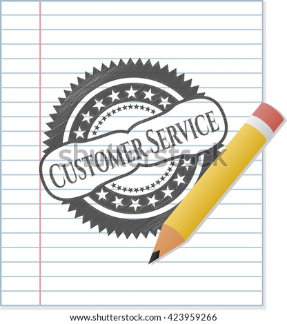 Customer Service emblem with pencil effect