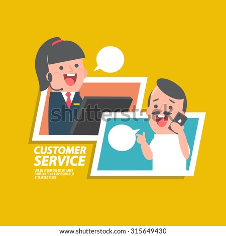 Customer service girl - Vector Illustration