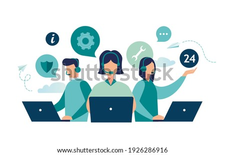 Customer service, hotline operators consult customers with headsets on computers, 247 global online technical support, Call center, call processing system, Vector illustration