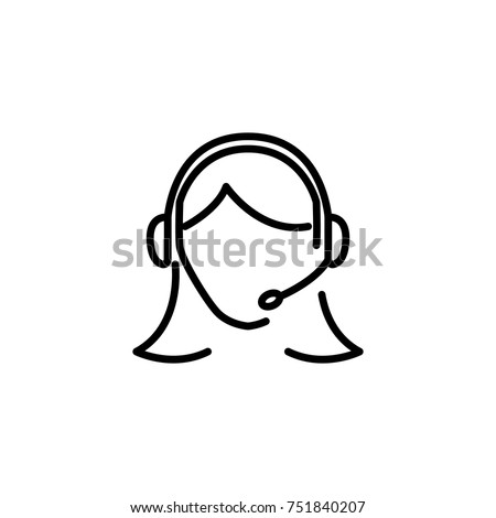 Customer Service Icon. Customer Service Icon - Female User With Headphone Vector illustration. Contact us. Support icons, representative symbol, help icon. Consultant. Call Assistant. Operator
