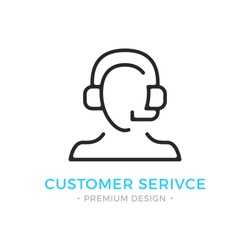 Customer service icon. Human silhouette with headset, man with headphones and microphone. Technical support, call center, customer support logo. Vector thin line icon isolated on white background