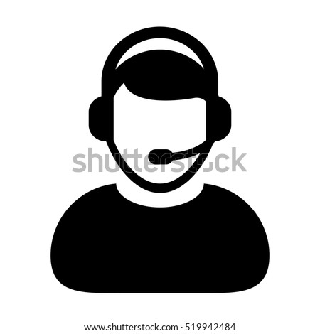 Customer Service Icon - User With Headphone Vector illustration