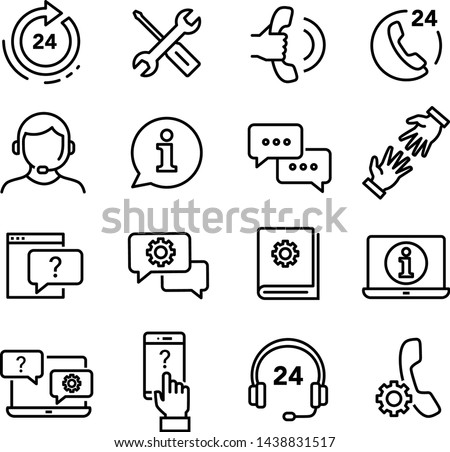 Customer service icons set, can be used to illustrate ordering products through e-shop, customer helpline service, solving problems, returning products etc. Stock photo ©