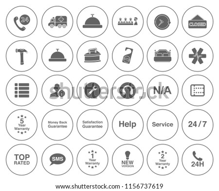 customer service icons set - contact support sign and symbols