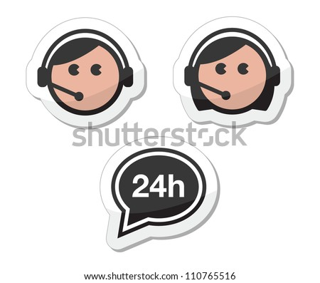 Customer service icons set, labels - call center assistants