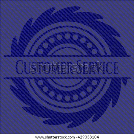 Customer Service jean or denim emblem or badge background