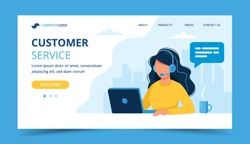 Customer service landing page. Woman with headphones and microphone with laptop. Concept illustration for support, assistance, call center. Vector illustration in flat style