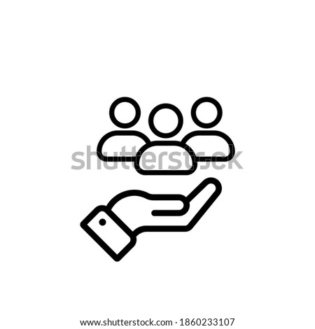 Customer service line icon vector. Full customer care service. Hand with persons. Vector illustration. Foto stock ©