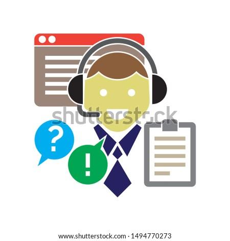 customer service man icon. flat illustration of customer service man - vector icon. customer service man sign symbol