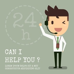 Customer service operator support, Vector cartoon concept abstract business