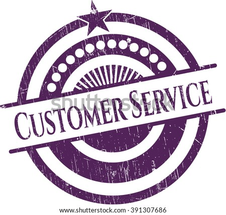 Customer Service rubber grunge texture stamp