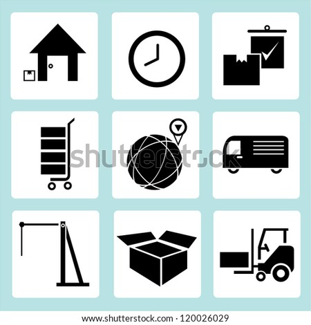 customer service, shipping and logistic icon set