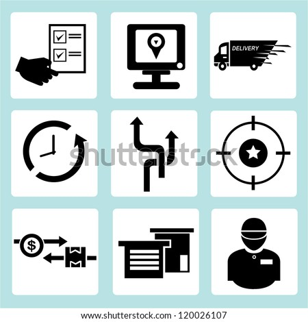 customer service, shipping and logistic icon set - stock vector