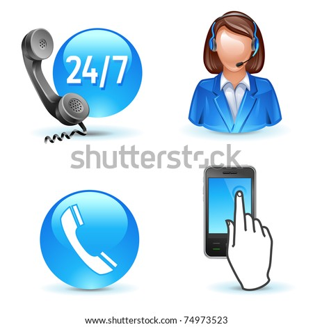 Customer service support phone call-center mobile icons