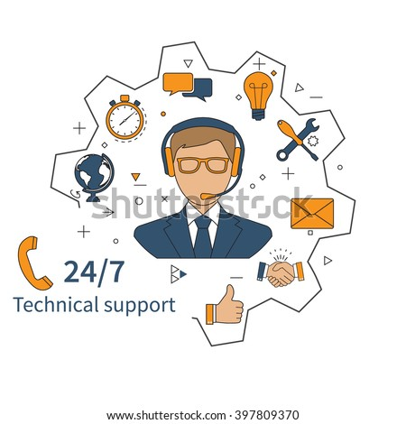 Customer service, technical support, call center. Vector illustration, flat design.