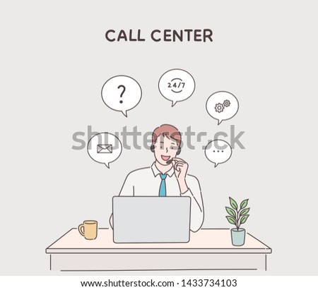 Customer service using laptop with speech bubble to communication. Hand drawn style vector design illustrations.