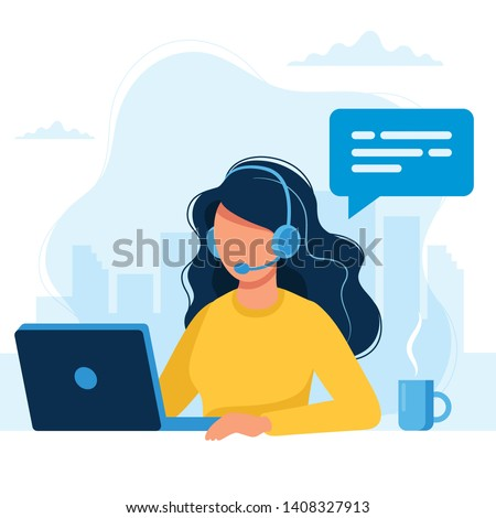 Customer service. Woman with headphones and microphone with laptop. Concept illustration for support, assistance, call center. Vector illustration in flat style
