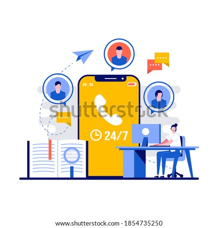 Customer support concept with character. Technical support engineer with computer at work. Call center, helpline, hotline, telemarketing business. Modern flat illustration for landing page. Stock photo ©