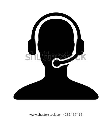 Customer support / customer service agent with headset or account manager flat vector icon for apps and websites
