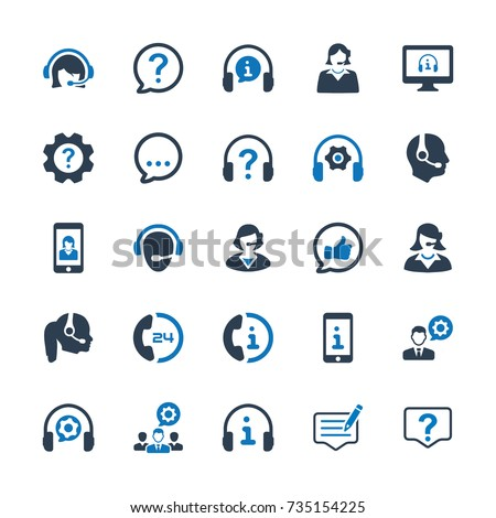 Customer Support Icons - Blue Version